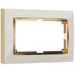 Рамка для двойной розетки (слоновая кость/золото) WL03-Frame-01-DBL-ivory-GD Werkel