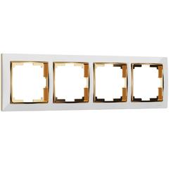 Рамка на 4 поста (белый/золото) WL03-Frame-04-white-GD Werkel