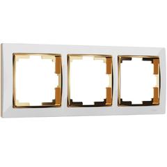 Рамка на 3 поста (белый/золото) WL03-Frame-03-white-GD Werkel
