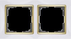 Рамка на 2 поста (белый/золото) WL03-Frame-02-white-GD Werkel