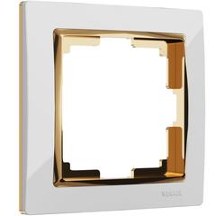 Рамка на 1 пост (белый/золото) WL03-Frame-01-white-GD Werkel