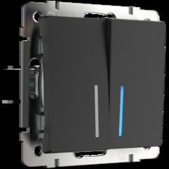 Выключатель двухклавишный проходной с подсветкой (черный матовый) WL08-SW-2G-2W-LED Werkel