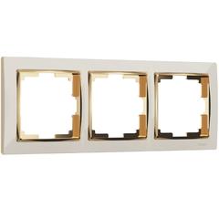 Рамка на 3 поста (слоновая кость/золото) WL03-Frame-03-ivory-GD Werkel