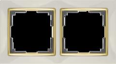 Рамка на 2 поста (слоновая кость/золото) WL03-Frame-02-ivory-GD Werkel