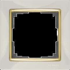 Рамка на 1 пост (слоновая кость/золото) WL03-Frame-01-ivory-GD Werkel