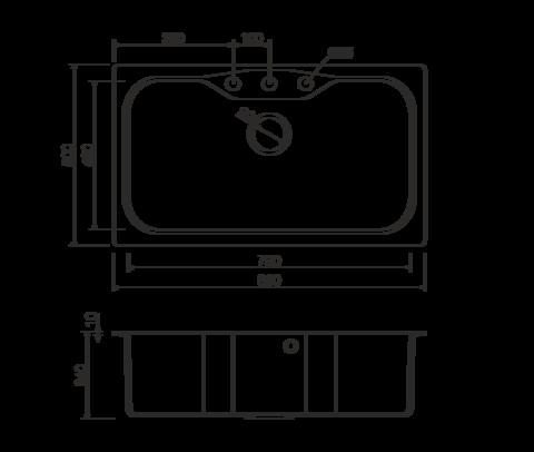 Кухонная мойка из искусственного гранита (Tetogranit) OMOIKIRI Maru 86-BL (4993138)