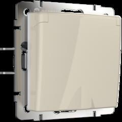 Розетка влагозащ. с зазем. с защит. крышкой и шторками  (слоновая кость) WL03-SKGSC-01-IP44-ivory Werkel