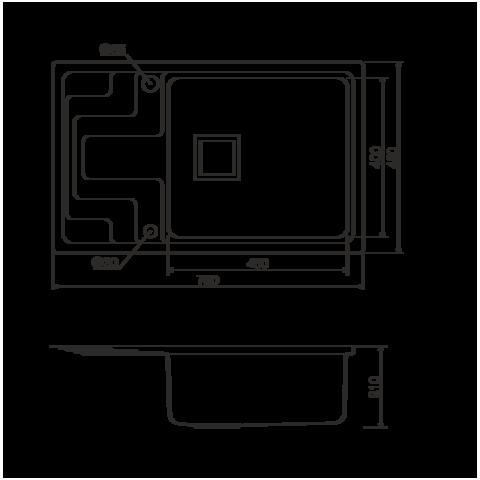 Кухонная мойка из нержавеющей стали OMOIKIRI Mizu 71-1-R (4993005)