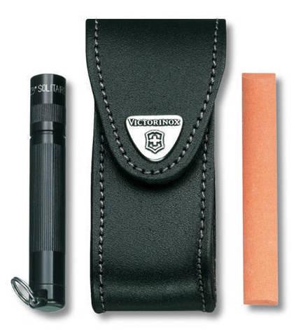 Чехол кожаный Victorinox, черный с застежкой Velkro для Swiss Army Knives or EcoLine 91 мм MV-4.0520.32