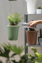 Горшок для полива растений Oasis Round Pot S зелёный Qualy QL10307-GN-GY