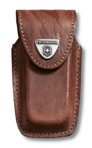 Чехол кожаный Victorinox, коричневый для Swiss Army Knives or EcoLine 91 мм, толщина ножа 5-8 уровне MV-4.0535