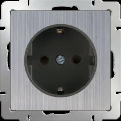 Розетка с заземлением и шторками (глянцевый никель) WL02-SKGS-01-IP44 Werkel