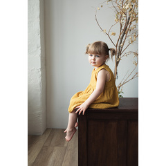 Платье без рукава из хлопкового муслина горчичного цвета из коллекции Essential 12-18M Tkano TK20-KIDS-DRS0001