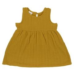Платье без рукава из хлопкового муслина горчичного цвета из коллекции Essential 24-36M Tkano TK20-KIDS-DRS0003