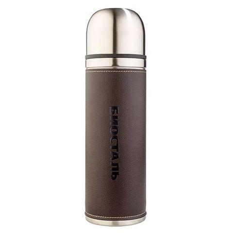 Термос Biostal Охота (0,5 литра) с кожанной вставкой, 2 пробки, коричневый
