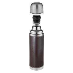 Термос Biostal Охота (0,75 литра) с кожанной вставкой, 2 пробки, коричневый NYP-750P