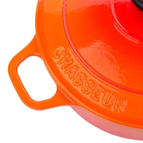 Кастрюля с крышкой чугунная 20 см (2,3л), с эмалированным покрытием, CHASSEUR Orange (цвет: оранжевый) арт. 372007