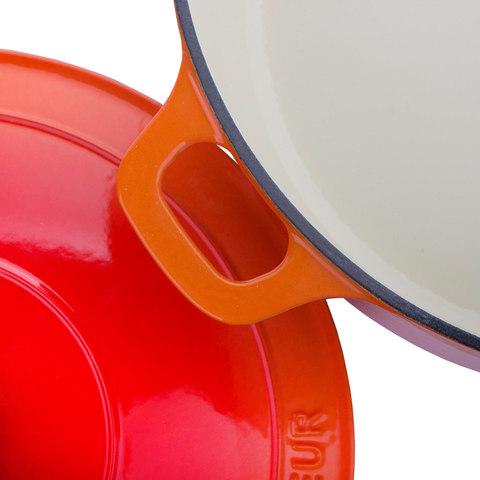 Кастрюля с крышкой чугунная 28см (6,3л), с эмалированным покрытием, CHASSEUR Orange (цвет: оранжевый) арт. 372807