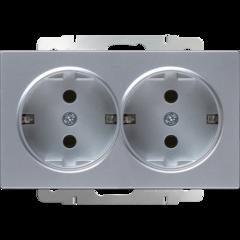 Розетка двойная с заземлением (серебряный) WL06-SKG-02-IP20 Werkel