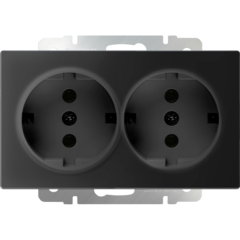 Розетка двойная с заземлением (черный матовый) WL08-SKG-02-IP20 Werkel
