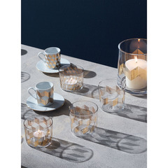 Набор из 4 чашек для кофе с блюдцами Signature Chevron, золото LSA International P055-01-146