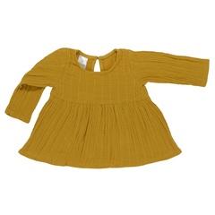 Платье с длинным рукавом из хлопкового муслина горчичного цвета из коллекции Essential 4-5Y Tkano TK20-KIDS-DRL0005