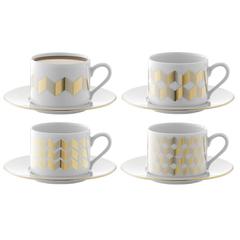 Набор из 4 чашек для чая с блюдцами Signature Chevron 250 мл, золото LSA International P034-11-146
