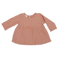 Платье с длинным рукавом из хлопкового муслина цвета пыльной розы из коллекции Essential 12-18M Tkano TK20-KIDS-DRL0006