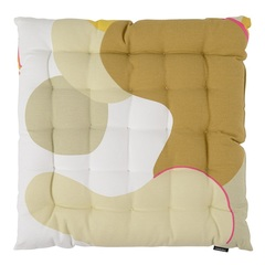 Подушка на стул из хлопка горчичного цвета с авторским принтом из коллекции Freak Fruit, 40х40 см Tkano TK20-CP0008