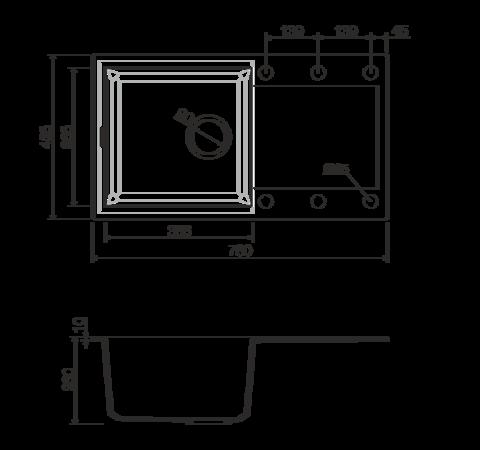 Кухонная мойка из искусственного гранита (Tetogranit) OMOIKIRI Sakaime 78-BL (4993111)