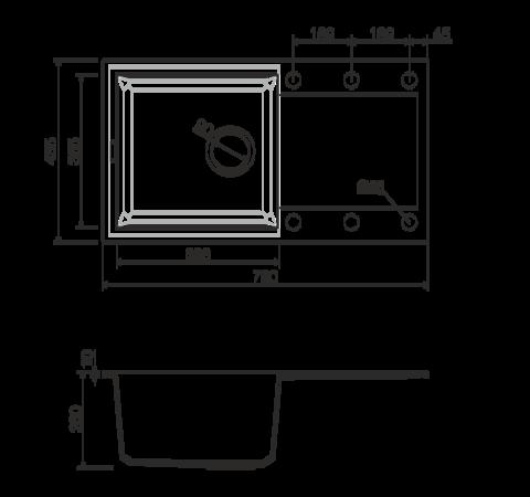 Кухонная мойка из искусственного гранита (Tetogranit) OMOIKIRI Sakaime 78-SA (4993113)