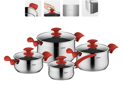 Набор посуды со стеклянными крышками, 8 пр., NADOBA, серия KARLA 727519