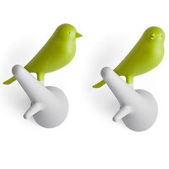 Вешалки настенные Sparrow 2 шт. белые-зеленые Qualy QL10067-WH-GN