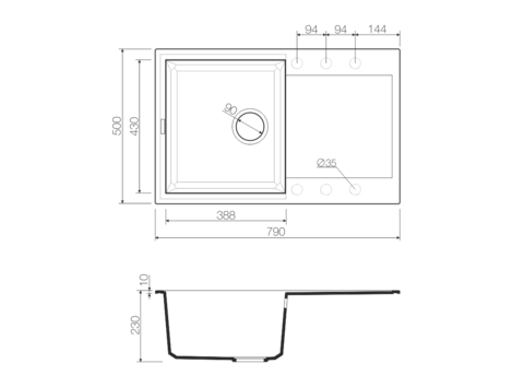 Кухонная мойка из искусственного гранита (Tetogranit) OMOIKIRI Sakaime 79-WH (4993279)