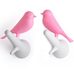 Вешалки настенные Sparrow 2 шт. белые-розовые Qualy QL10067-WH-PK