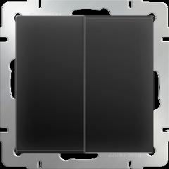 Выключатель двухклавишный (черный матовый) WL08-SW-2G Werkel