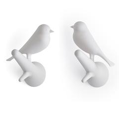 Вешалки настенные Sparrow, 2 шт., белые Qualy QL10067-WH-WH