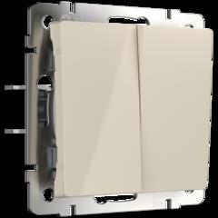 Выключатель двухклавишный проходной (слоновая кость) WL03-SW-2G-2W-ivory Werkel