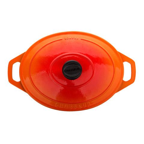 Кастрюля с крышкой чугунная 27 см (3.6 л), с эмалированным покрытием, овальная, CHASSEUR Orange (цвет: оранжевый) арт. 372707
