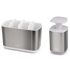Набор из органайзера для зубных щеток EasyStore Steel и диспенсера для мыла Presto Steel Joseph Joseph 70551