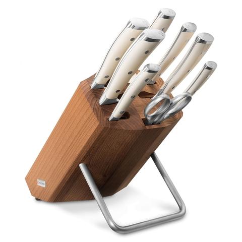 Набор из 6 кухонных ножей, мусата, ножниц и подставки WUSTHOF Ikon Cream White арт. 9879 WUS