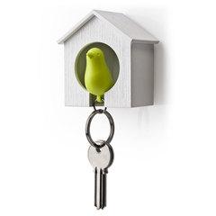 Держатель+брелок для ключей Sparrow белый-зеленый Qualy QL10091-WH-GN