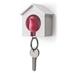 Держатель+брелок для ключей Sparrow белый-розовый Qualy QL10091-WH-PK
