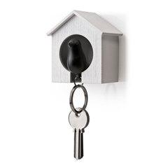 Держатель+брелок для ключей Sparrow белый-черный Qualy QL10091-WH-BK