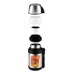 Термос универсальный (для еды и напитков) Biostal Спорт (1 литр) с ручкой, стальной NGP-1000P