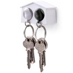 Держатель+брелок для ключей двойной Mini Sparrow белый-черный Qualy QL10185-WH-WH-BK