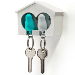 Держатель+брелок для ключей двойной Sparrow белый-голубой Qualy QL10124-WH-WH-BU