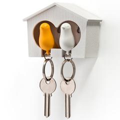 Держатель+брелок для ключей двойной Sparrow белый-желтый Qualy QL10124-WH-WH-YW