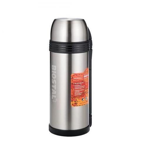 Термос универсальный (для еды и напитков) Biostal Спорт (1,8 литра) с ручкой, стальной