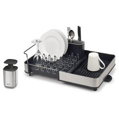 Набор из сушилки для посуды раздвижной Extend Steel и диспенсера для мыла Presto Steel Joseph Joseph 85189
